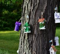 HAND PAINTED BIRDHOUSES LOVINGLY MADE BY THE CHILDREN AT THE EARLY CHILDHOD CENTER